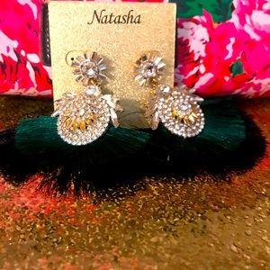 Natasha green & black crystal fringe earrings